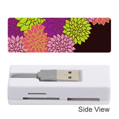 Floral Card Template Bright Colorful Dahlia Flowers Pattern Background Memory Card Reader (Stick)