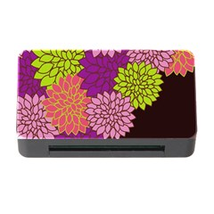 Floral Card Template Bright Colorful Dahlia Flowers Pattern Background Memory Card Reader With Cf