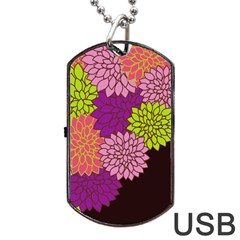 Floral Card Template Bright Colorful Dahlia Flowers Pattern Background Dog Tag USB Flash (Two Sides)