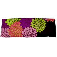 Floral Card Template Bright Colorful Dahlia Flowers Pattern Background Body Pillow Case (dakimakura)