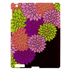 Floral Card Template Bright Colorful Dahlia Flowers Pattern Background Apple Ipad 3/4 Hardshell Case