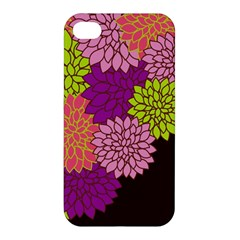 Floral Card Template Bright Colorful Dahlia Flowers Pattern Background Apple iPhone 4/4S Premium Hardshell Case