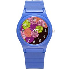 Floral Card Template Bright Colorful Dahlia Flowers Pattern Background Round Plastic Sport Watch (s)