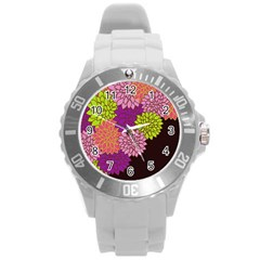 Floral Card Template Bright Colorful Dahlia Flowers Pattern Background Round Plastic Sport Watch (L)