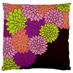 Floral Card Template Bright Colorful Dahlia Flowers Pattern Background Large Cushion Case (two Sides)