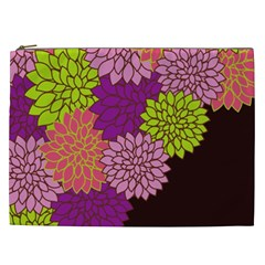 Floral Card Template Bright Colorful Dahlia Flowers Pattern Background Cosmetic Bag (XXL)