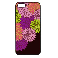 Floral Card Template Bright Colorful Dahlia Flowers Pattern Background Apple Iphone 5 Seamless Case (black)