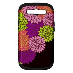 Floral Card Template Bright Colorful Dahlia Flowers Pattern Background Samsung Galaxy S Iii Hardshell Case (pc+silicone)