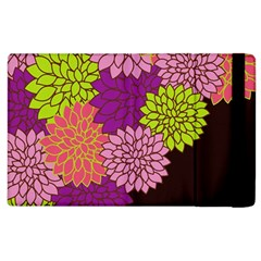 Floral Card Template Bright Colorful Dahlia Flowers Pattern Background Apple Ipad 3/4 Flip Case