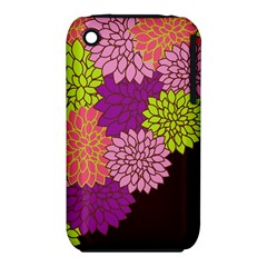 Floral Card Template Bright Colorful Dahlia Flowers Pattern Background Iphone 3s/3gs