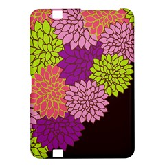 Floral Card Template Bright Colorful Dahlia Flowers Pattern Background Kindle Fire HD 8.9