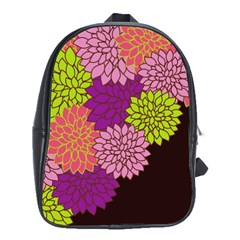 Floral Card Template Bright Colorful Dahlia Flowers Pattern Background School Bags (xl)