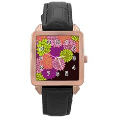 Floral Card Template Bright Colorful Dahlia Flowers Pattern Background Rose Gold Leather Watch