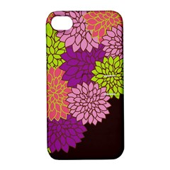 Floral Card Template Bright Colorful Dahlia Flowers Pattern Background Apple Iphone 4/4s Hardshell Case With Stand