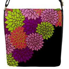 Floral Card Template Bright Colorful Dahlia Flowers Pattern Background Flap Messenger Bag (s)
