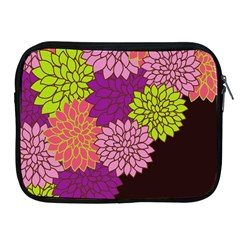 Floral Card Template Bright Colorful Dahlia Flowers Pattern Background Apple Ipad 2/3/4 Zipper Cases