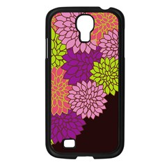 Floral Card Template Bright Colorful Dahlia Flowers Pattern Background Samsung Galaxy S4 I9500/ I9505 Case (black)