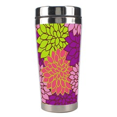 Floral Card Template Bright Colorful Dahlia Flowers Pattern Background Stainless Steel Travel Tumblers