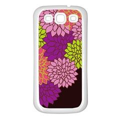 Floral Card Template Bright Colorful Dahlia Flowers Pattern Background Samsung Galaxy S3 Back Case (white)