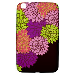 Floral Card Template Bright Colorful Dahlia Flowers Pattern Background Samsung Galaxy Tab 3 (8 ) T3100 Hardshell Case