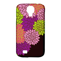 Floral Card Template Bright Colorful Dahlia Flowers Pattern Background Samsung Galaxy S4 Classic Hardshell Case (pc+silicone)