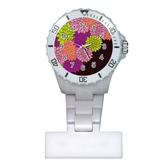 Floral Card Template Bright Colorful Dahlia Flowers Pattern Background Plastic Nurses Watch