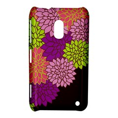 Floral Card Template Bright Colorful Dahlia Flowers Pattern Background Nokia Lumia 620