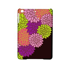 Floral Card Template Bright Colorful Dahlia Flowers Pattern Background iPad Mini 2 Hardshell Cases