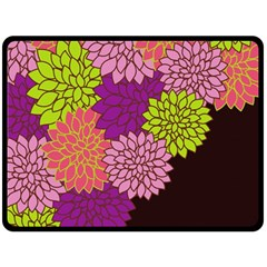 Floral Card Template Bright Colorful Dahlia Flowers Pattern Background Double Sided Fleece Blanket (large)