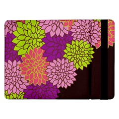 Floral Card Template Bright Colorful Dahlia Flowers Pattern Background Samsung Galaxy Tab Pro 12 2  Flip Case
