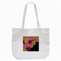 Floral Card Template Bright Colorful Dahlia Flowers Pattern Background Tote Bag (white)