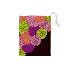 Floral Card Template Bright Colorful Dahlia Flowers Pattern Background Drawstring Pouches (Small)