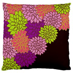 Floral Card Template Bright Colorful Dahlia Flowers Pattern Background Large Flano Cushion Case (two Sides)