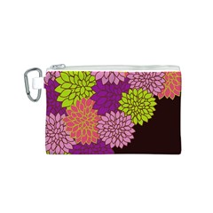 Floral Card Template Bright Colorful Dahlia Flowers Pattern Background Canvas Cosmetic Bag (S)