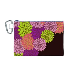 Floral Card Template Bright Colorful Dahlia Flowers Pattern Background Canvas Cosmetic Bag (m)