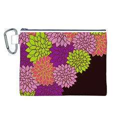 Floral Card Template Bright Colorful Dahlia Flowers Pattern Background Canvas Cosmetic Bag (l)
