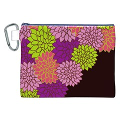 Floral Card Template Bright Colorful Dahlia Flowers Pattern Background Canvas Cosmetic Bag (XXL)