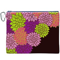 Floral Card Template Bright Colorful Dahlia Flowers Pattern Background Canvas Cosmetic Bag (xxxl)