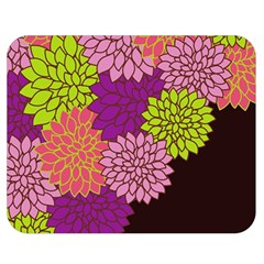 Floral Card Template Bright Colorful Dahlia Flowers Pattern Background Double Sided Flano Blanket (medium)