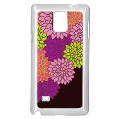 Floral Card Template Bright Colorful Dahlia Flowers Pattern Background Samsung Galaxy Note 4 Case (White)