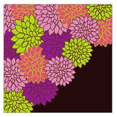 Floral Card Template Bright Colorful Dahlia Flowers Pattern Background Large Satin Scarf (Square)