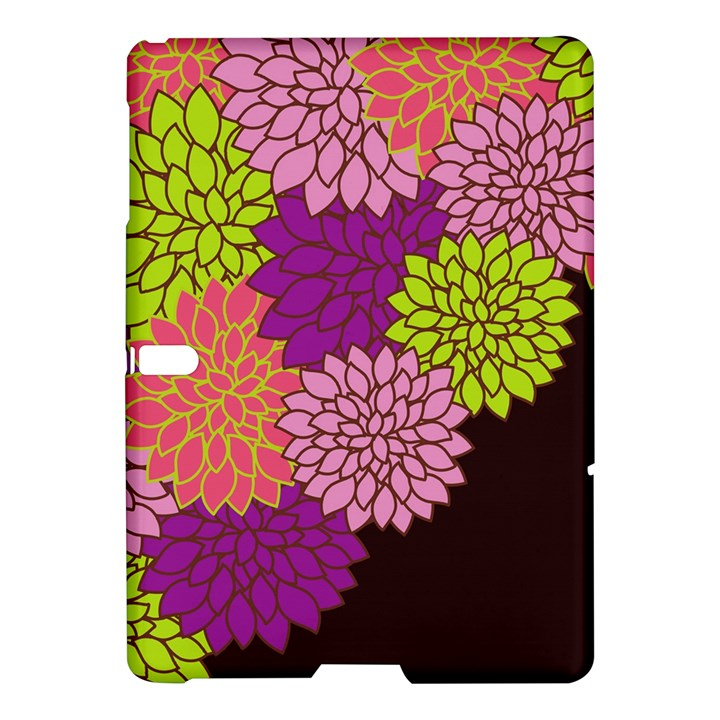 Floral Card Template Bright Colorful Dahlia Flowers Pattern Background Samsung Galaxy Tab S (10.5 ) Hardshell Case