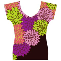Floral Card Template Bright Colorful Dahlia Flowers Pattern Background Women s V-Neck Cap Sleeve Top