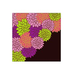 Floral Card Template Bright Colorful Dahlia Flowers Pattern Background Satin Bandana Scarf