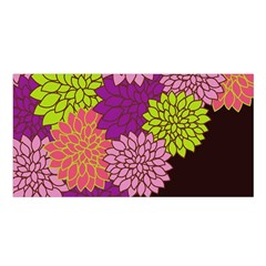 Floral Card Template Bright Colorful Dahlia Flowers Pattern Background Satin Shawl