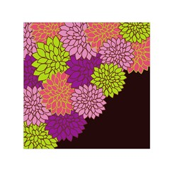 Floral Card Template Bright Colorful Dahlia Flowers Pattern Background Small Satin Scarf (Square)