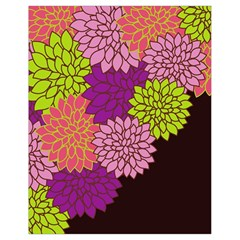 Floral Card Template Bright Colorful Dahlia Flowers Pattern Background Drawstring Bag (small)