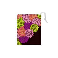 Floral Card Template Bright Colorful Dahlia Flowers Pattern Background Drawstring Pouches (XS)