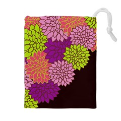 Floral Card Template Bright Colorful Dahlia Flowers Pattern Background Drawstring Pouches (extra Large)