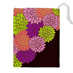 Floral Card Template Bright Colorful Dahlia Flowers Pattern Background Drawstring Pouches (XXL)